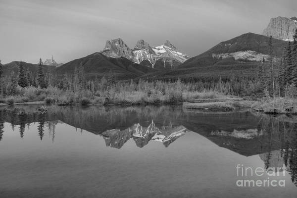 Photograph - Canmore Alberta Glowing Mountain Peaks Black And White by Adam Jewell