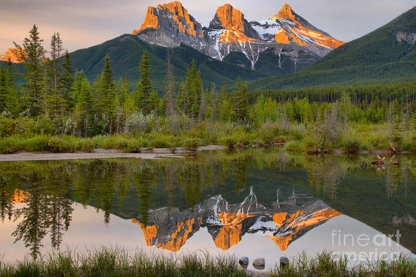 Photograph - Canmore Alberta Three Sisters Sunrise by Adam Jewell