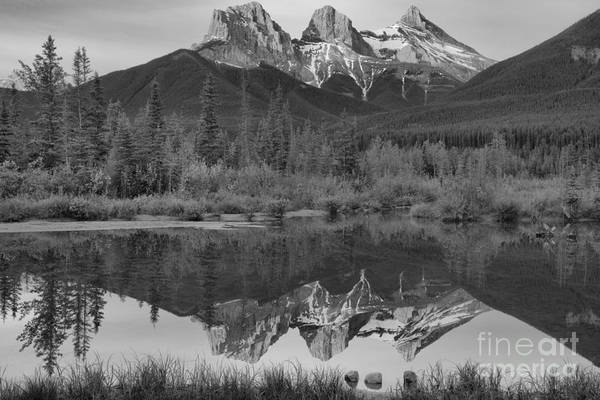 Photograph - Canmore Alberta Three Sisters Sunrise Black And White by Adam Jewell