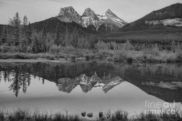 Photograph - Canmore Brilliant Sunrise Black And White by Adam Jewell
