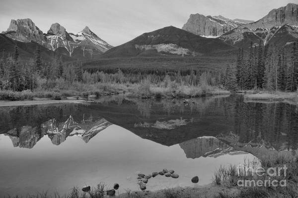 Photograph - Canmore Sunrise Reflections Landscape Black And White by Adam Jewell