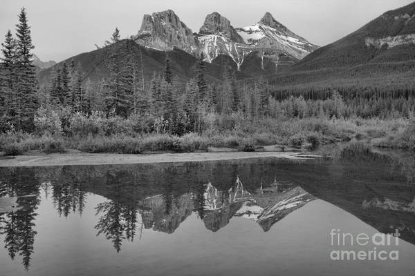 Photograph - Canmore Thre Sisters Perfect Reflections Black And White by Adam Jewell