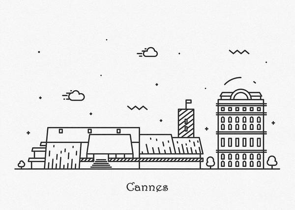 Landmark Center Drawing - Cannes Cityscape Travel Poster by Inspirowl Design