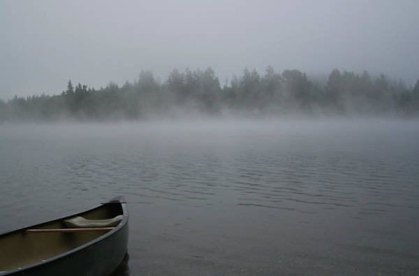 Gray Hair Photograph - Canoe On A Foggy Lake by Roundhill
