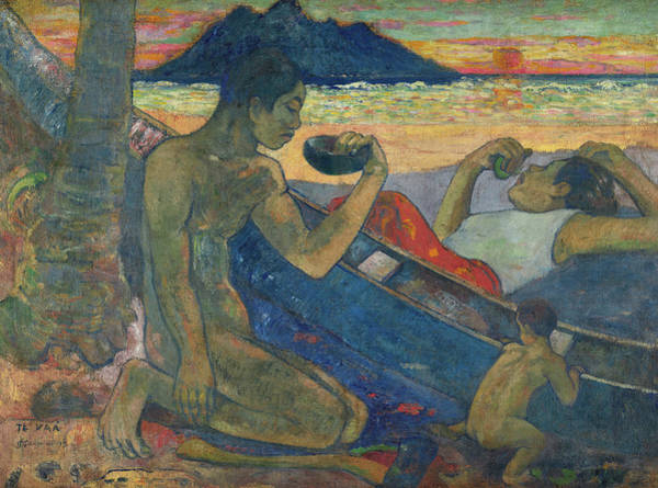 Wall Art - Painting - Canoe, Tahitian Family, 1896 by Paul Gauguin