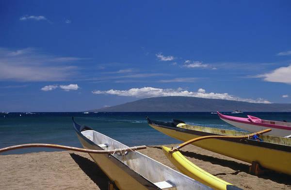 Canoe Photograph - Canoes At Hanakaoo Beach Park Canoe by Karl Lehmann