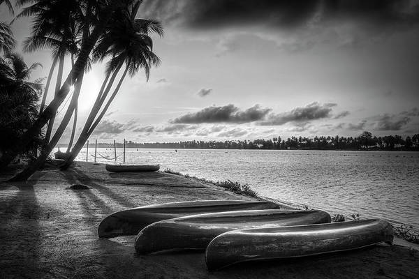 Photograph - Canoes At Sunrise In Black And White by Debra and Dave Vanderlaan
