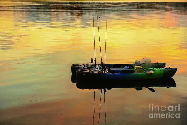 Wall Art - Photograph - Canoes Floating At Sunset by Claudia M Photography