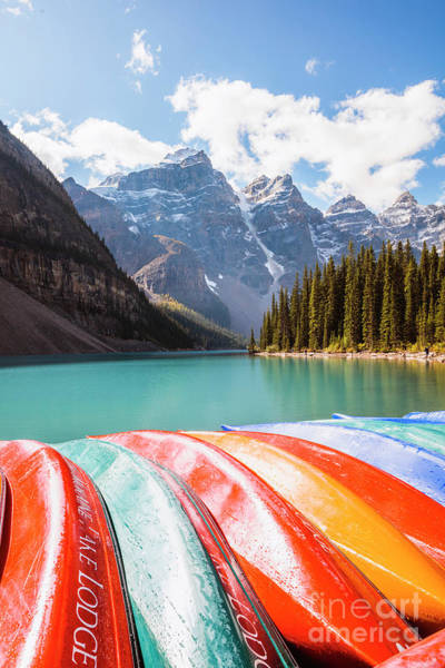 Wall Art - Photograph - Canoes, Lake Moraine, Canada by Matteo Colombo