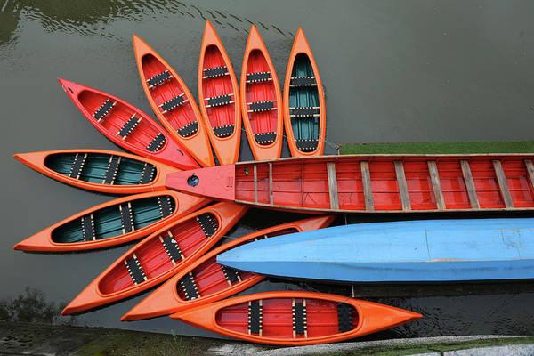 Ljubljana Wall Art - Photograph - Canoes by Photograph By Bernd Zillich