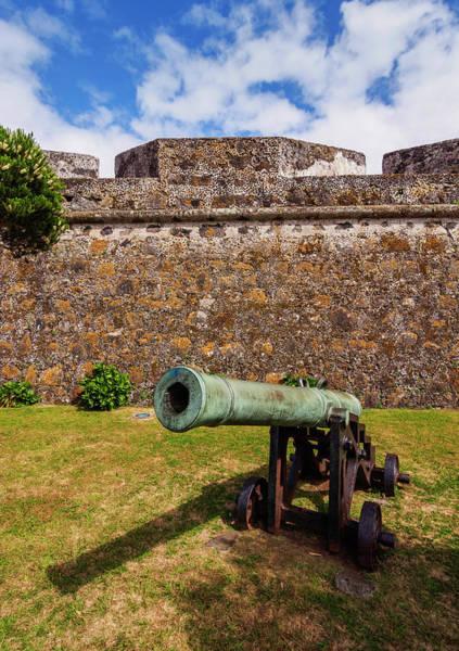 Wall Art - Photograph - Canon In Sao Bras Fort Ponta Delgada Sao Miguel Island Azores Portugal by imageBROKER - Karol Kozlowski