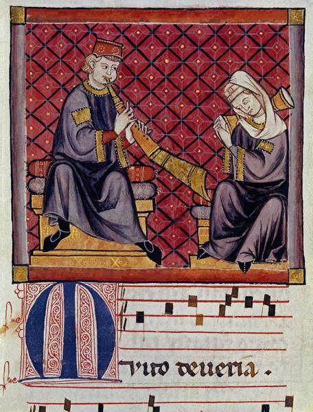 Castilla Drawing - Cantigas De Santa Maria Albogon -or Al-buq- And Tambourine Players. 13th Century. by Alfonso X of Castile the Wise -1221-1284-