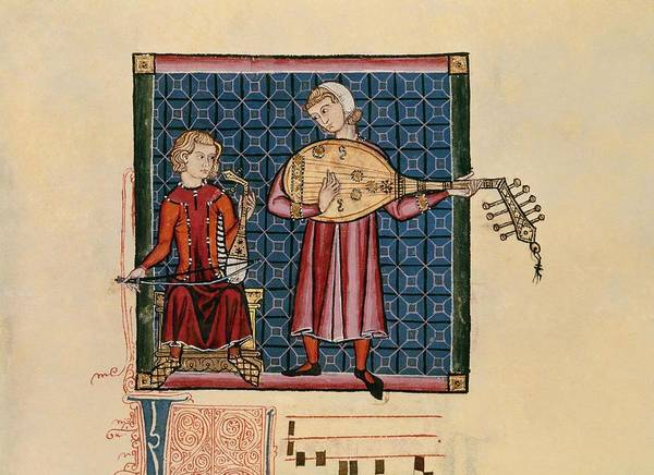 Castilla Drawing - Cantigas De Santa Maria Codex Of The Musicians, Arabic Rabel And Laud - Miniature 13th Century. by Alfonso X of Castile the Wise -1221-1284-