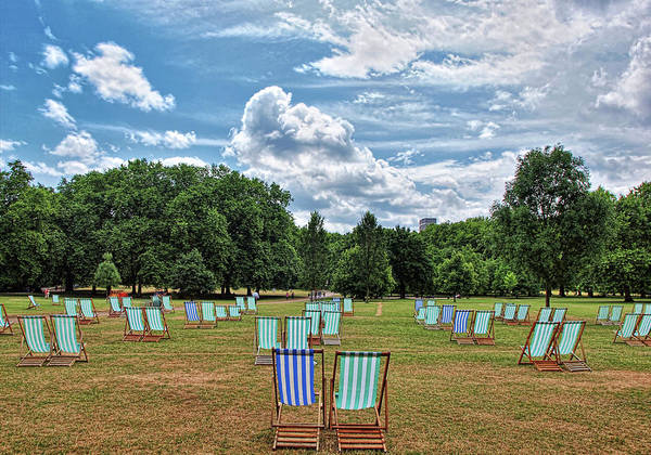 Armchair Photograph - Canvas Seats In Green Park - London by Neil Howard