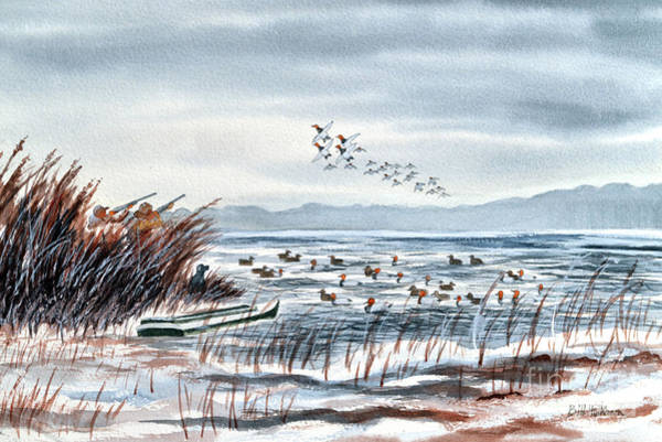 Wall Art - Painting - Canvasback Duck Hunting by Bill Holkham