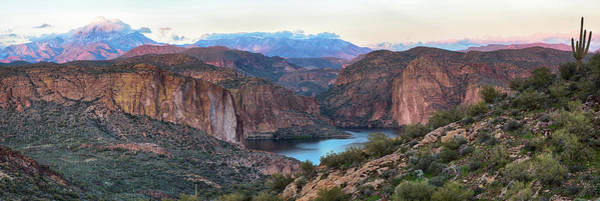 Photograph - Canyon Lake And Four Peaks Panorama 2 by Dave Dilli