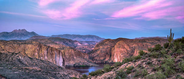 Photograph - Canyon Lake And Four Peaks Sunset Panorama by Dave Dilli