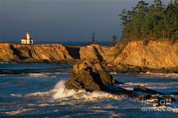 Photograph - Cape Arago Lighthouse At Sunset Oregon by Dave Welling