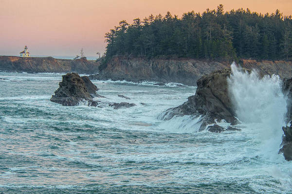 Photograph - Cape Arago Lighthouse With A Splash by Matthew Irvin