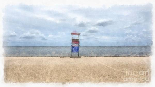 Wall Art - Painting - Cape Cod Beach Lifeguard Tower by Edward Fielding