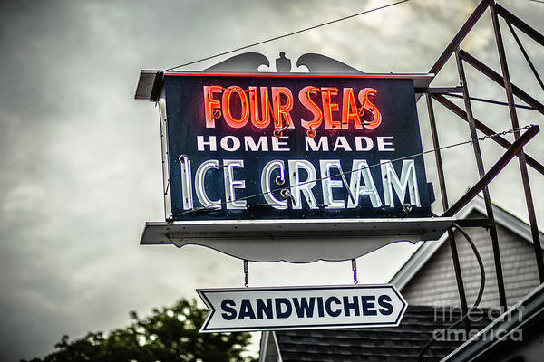 Wall Art - Photograph - Cape Cod Four Seas Home Made Ice Cream Neon Sign by Edward Fielding