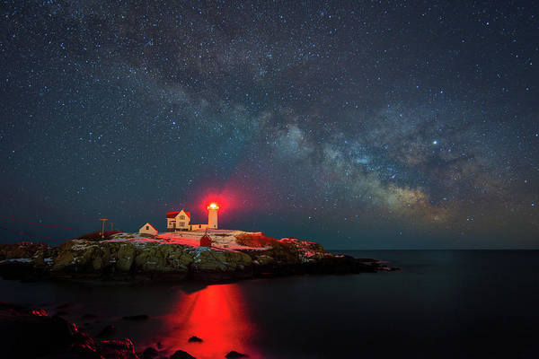 Photograph - Cape Neddick Lighthouse And The Night Sky by Kristen Wilkinson