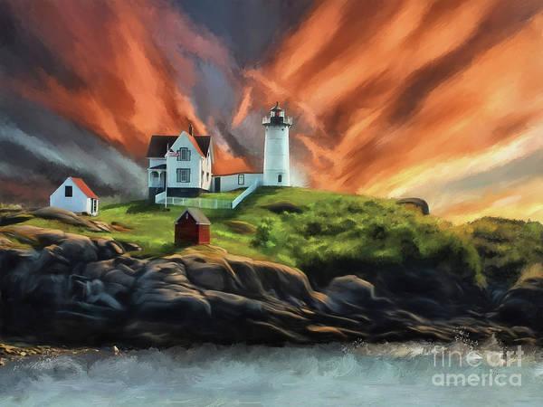Lighthouses Digital Art - Cape Neddick Nubble Lighthouse by Lois Bryan