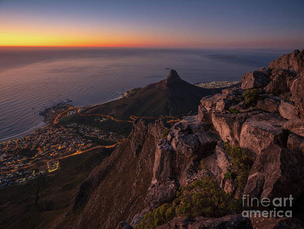 Table Mountain Wall Art - Photograph - Cape Town Lions Head Sunset From Table Mountain by Mike Reid