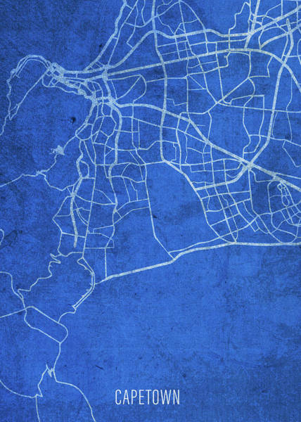 Wall Art - Mixed Media - Cape Town South Africa City Street Map Blueprints by Design Turnpike
