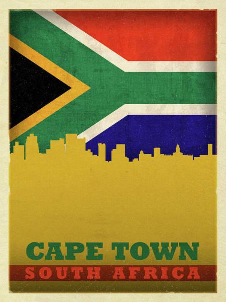 Wall Art - Mixed Media - Cape Town South Africa World City Flag Skyline by Design Turnpike