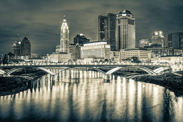 Wall Art - Photograph - Capital City Skyline - Downtown Columbus Ohio In Sepia by Gregory Ballos