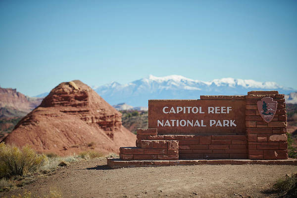 Wall Art - Photograph - Capital Reef National Park Sign by Paul Freidlund