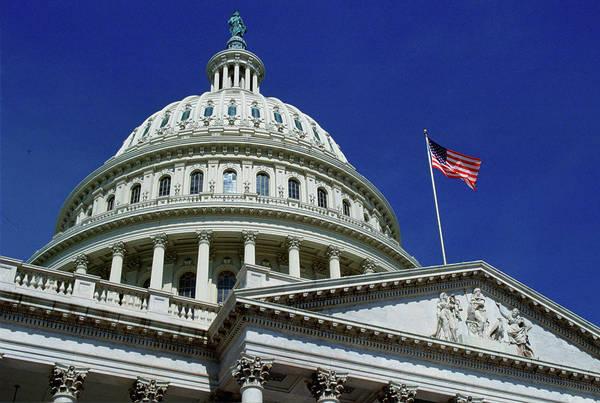 Usa Flag Photograph - Capitol Building, Washington, Usa by Tim Graham