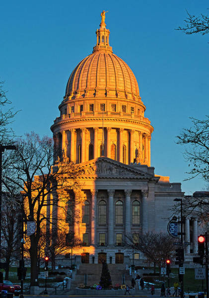 Photograph - Capitol - Madison - Wisconsin Sunset by Steven Ralser