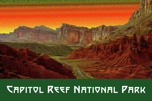Digital Art - Capitol Reef National Park by Chuck Mountain