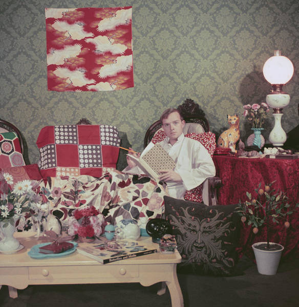 Content Photograph - Capote At Home by Slim Aarons