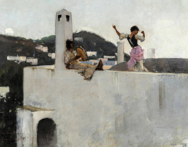 Wall Art - Painting - Capri Girl On A Rooftop, 1878 by John Singer Sargent