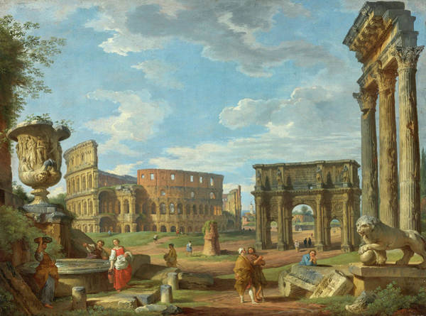 Collapse Painting - Capriccio Of Roman Monuments With The Colosseum And Arch Of Constantine by Giovanni Paolo Pannini