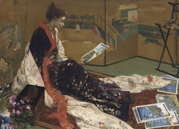 Wall Art - Painting - Caprice In Purple And Gold, The Golden Screen, 1864 by James Abbott McNeill Whistler