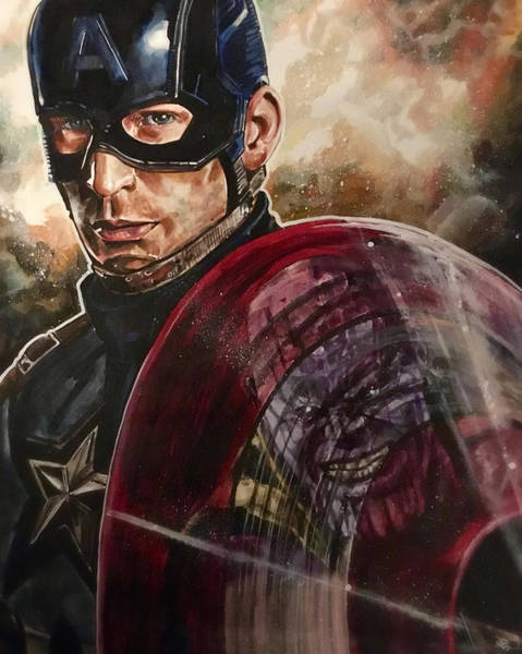 Painting - Captain America by Joel Tesch