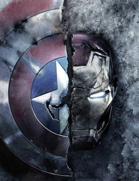 Wall Art - Digital Art - Captain Americas Shield Iron Man by Geek N Rock