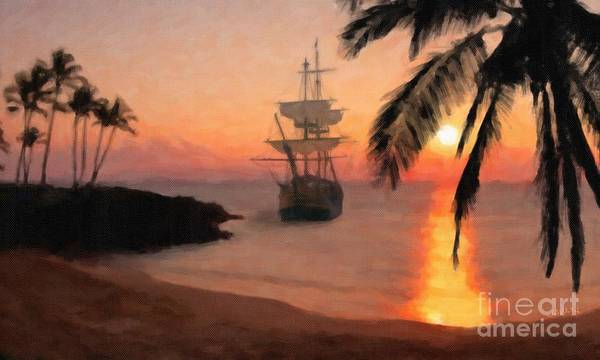 Andrew Jackson Wall Art - Painting - Captain Cook's Hms Endeavor Anchored Off Hawaii  by Andrew Jackson