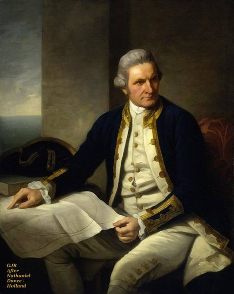 Captain Cook Digital Art - Captain James Cook After The Original Painting By Nathaniel Dance - Holland L A S by Gert J Rheeders