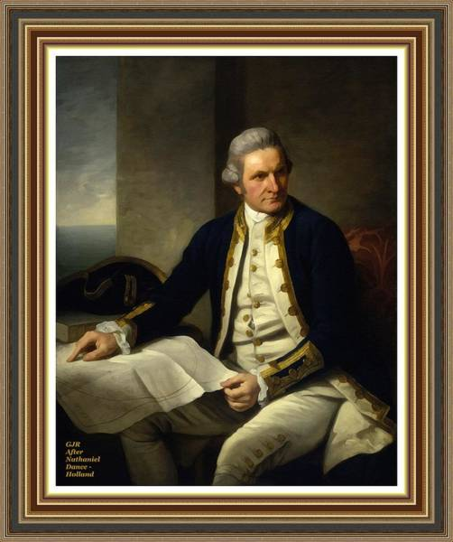 Captain Cook Digital Art - Captain James Cook After The Original Painting By Nathaniel Dance - Holland L A S With Printed Frame by Gert J Rheeders