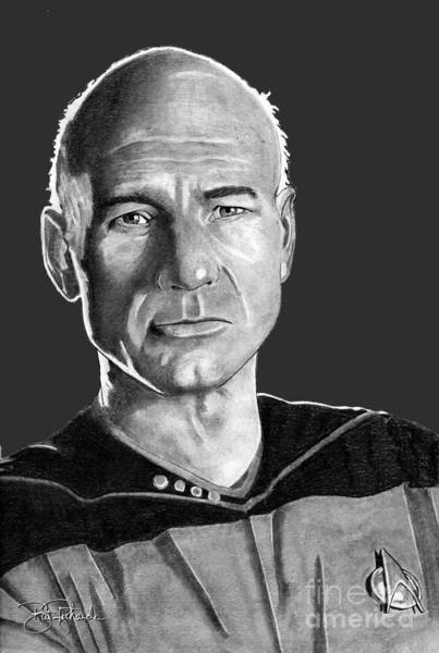 Drawing - Captain Jean-luc Picard by Bill Richards
