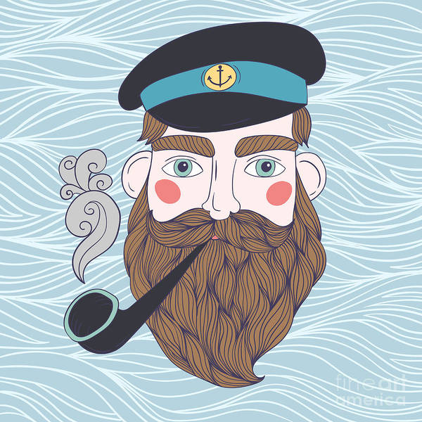 Wall Art - Digital Art - Captain With Pipe Vector Illustration by Maria Sem