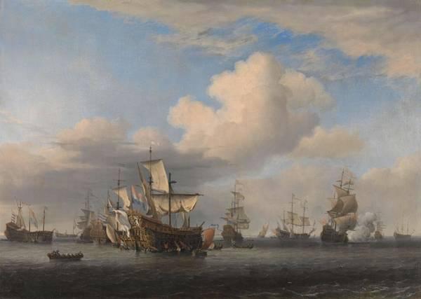 Oak Harbor Painting - Captured English Ships After The Four Days' Battle. De Veroverde Schepen 'swiftsure', 'seven Oaks... by Willem van de Velde -II-