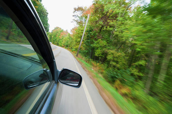 Driving Photograph - Car Driving Along A Country Road by Antonio M. Rosario
