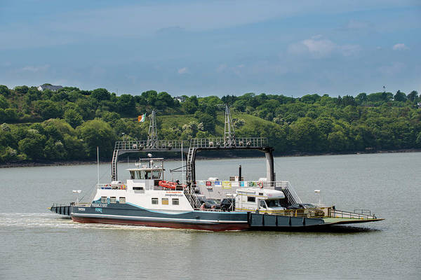 Wall Art - Photograph - Car Ferry Across The River Barrow Between The Towns Of Passage East County Waterford And Ballyhack by imageBROKER - Matthias Graben