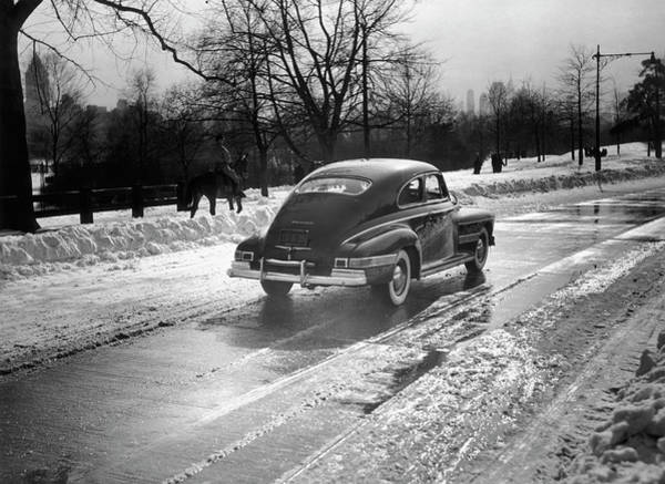 Land Mark Photograph - Car In The Snow by George Marks